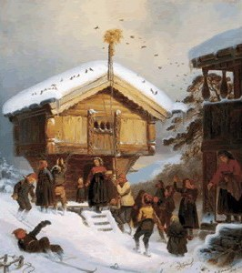 norwegian country yule from an old painting by tidemand above an excellent example of early scandinavian christmas traditions